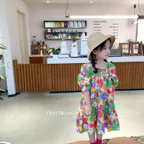 Dress Rose pink, oil painting flower female Other / other 90cm,100cm,110cm,120cm,130cm,140cm Other 100% summer Korean version Short sleeve cotton Lotus leaf edge JM2 dress with short front and long back