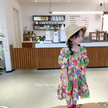 Dress Rose pink, oil painting flower female Other / other 90cm,100cm,110cm,120cm,130cm,140cm Other 100% summer Korean version Short sleeve cotton Lotus leaf edge JM2 dress with short front and long back