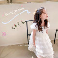 Dress white female Other / other 90cm,100cm,110cm,120cm,130cm,140cm Other 100% summer princess Short sleeve Solid color other Cake skirt Gauze skirt cake skirt 18 months, 2 years old, 3 years old, 4 years old, 5 years old, 6 years old, 7 years old, 8 years old, 9 years old, 10 years old