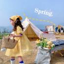 Dress yellow female Other / other 90cm,100cm,110cm,120cm,130cm,140cm Other 100% summer Korean version Short sleeve Broken flowers cotton A-line skirt As yellow flower oil painting skirt