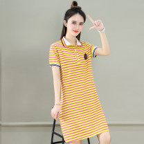 T-shirt Black yellow stripe blue green stripe red yellow stripe M L XL 2XL Summer 2021 Short sleeve Polo collar easy Medium length routine commute cotton 86% (inclusive) -95% (inclusive) 25-29 years old Korean version Tamanyan tmy-ssx-2183 Printed stitching button Pure e-commerce (online only)