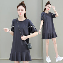 Dress Summer 2021 Grey black white M L XL longuette singleton  Short sleeve commute Crew neck Loose waist Solid color Socket Ruffle Skirt routine 25-29 years old Type H Tamanyan Korean version Lotus leaf edge 91% (inclusive) - 95% (inclusive) cotton Pure e-commerce (online only)