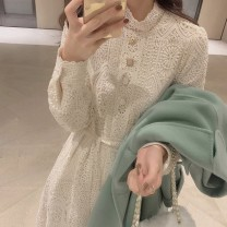 Women's large Summer 2021 Apricot black S M L XL singleton  commute Straight cylinder Socket Long sleeves Solid color stand collar routine polyester fiber routine Dai Xuemei 25-29 years old longuette Polyester 100%