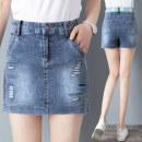 Jeans Summer 2021 blue S M L XL 2XL 3XL shorts High waist Straight pants routine Wear out wash embroidery and whiten Multi Pocket Thin denim Dark color Q2235-0430 Handucat / handu cat Cotton 98% polyurethane elastic fiber (spandex) 2% Pure e-commerce (online only)