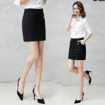skirt Spring 2021 S M L XL XXL black Short skirt Versatile High waist skirt Solid color 51% (inclusive) - 70% (inclusive) brocade Handucat / handu cat nylon Three dimensional decoration splicing Pure e-commerce (online only)
