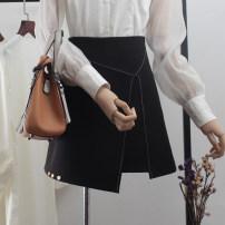 skirt Spring 2020 XS,S,M,L,XL,2XL black Short skirt commute High waist A-line skirt Solid color Type A More than 95% other polyester fiber Asymmetric, zipper, open line decoration, stitching Korean version