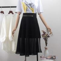 skirt Summer 2020 XS,S,M,L,XL,2XL black Mid length dress commute High waist A-line skirt Solid color Type A 18-24 years old BSQ9021 More than 95% Chiffon polyester fiber Asymmetric, zipper