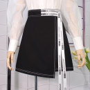 skirt Spring 2021 XS,S,M,L,XL,2XL Black, white Short skirt commute High waist A-line skirt Solid color Type A 18-24 years old BSQ8153 More than 95% Denim cotton Lace up, asymmetric, zipper, open line decoration Korean version