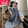 Dress Summer 2021 Brown Blue S M L longuette singleton  Short sleeve commute Crew neck High waist lattice Socket A-line skirt puff sleeve Others 18-24 years old Type A Qi Lanjing Korean version Pocket zipper HZY2021032217 51% (inclusive) - 70% (inclusive) other cotton Cotton 65.00% polyester 35.00%