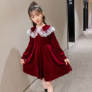 Dress Autumn 2020 Red, black 110cm,120cm,130cm,140cm,150cm,160cm Mid length dress singleton  Long sleeves commute Doll Collar Loose waist Solid color Socket Princess Dress other Others Under 17 Type A Other / other Korean version More than 95% other cotton