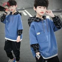 Sweater / sweater Other / other Blue [good quality no pilling], black [good quality no pilling], white [good quality no pilling] male 110cm,120cm,130cm,140cm,150cm,160cm,170cm spring and autumn No detachable cap leisure time routine other Solid color