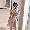 Dress Summer 2020 Pink S M L XL Short skirt singleton  Short sleeve commute Admiral High waist stripe Single breasted A-line skirt puff sleeve Others 18-24 years old Type A Yunfeina Korean version Button More than 95% other polyester fiber Polyester 100% Pure e-commerce (online only)