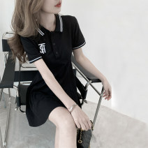 Dress Summer 2021 Dark black women's dress S M L XL Short skirt singleton  Short sleeve commute Polo collar High waist Solid color Three buttons A-line skirt routine Others 18-24 years old Type A Yunfeina Korean version GZ0404YFN More than 95% other polyester fiber Polyester 100%