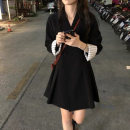 Dress Spring 2021 Black dress S M L XL Short skirt singleton  Long sleeves commute tailored collar High waist Solid color double-breasted A-line skirt routine Others 18-24 years old Shanqi Korean version Button More than 95% other Other 100% Pure e-commerce (online only)