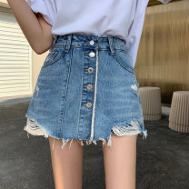 skirt Spring 2021 S,M,L,XL Nostalgic blue Short skirt commute High waist A-line skirt Solid color Type A 18-24 years old DY20608 71% (inclusive) - 80% (inclusive) Denim Button Korean version