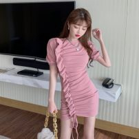 Dress Spring 2021 Black, pink Average size Mid length dress singleton  Long sleeves commute Crew neck High waist Solid color Socket other puff sleeve Others 18-24 years old Type H Korean version Bows, ruffles, folds, stitching, lacing, asymmetry, strapping DY20751
