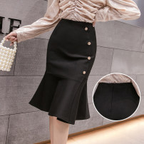 skirt Spring 2021 S,M,L,XL,2XL black Mid length dress Retro High waist skirt Solid color Type X 25-29 years old DY20306 51% (inclusive) - 70% (inclusive) Ruffles, asymmetry, zippers, buttons 401g / m ^ 2 (inclusive) - 500g / m ^ 2 (inclusive)