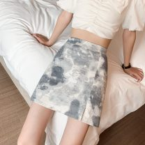 skirt Summer 2021 S,M,L,XL Grey, red, blue Short skirt Versatile High waist A-line skirt Abstract pattern Type A 18-24 years old Stitching, printing