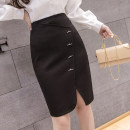 skirt Spring 2021 S,M,L,XL,2XL black Middle-skirt commute High waist skirt Solid color Type H 18-24 years old 51% (inclusive) - 70% (inclusive) Other / other Korean version