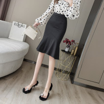 skirt Spring 2021 S,M,L,XL,2XL black Mid length dress commute High waist skirt Solid color Type A 18-24 years old DY207342 other Asymmetry, splicing Korean version