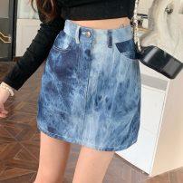 skirt Summer 2021 XS,S,M,L Blue, black Short skirt commute High waist A-line skirt 18-24 years old DY69199 Asymmetry, splicing Korean version