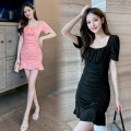 Dress Summer 2021 Pink Black S M L XL Short skirt singleton  Short sleeve commute square neck High waist Solid color Socket A-line skirt puff sleeve 18-24 years old Type A Bullfrog Korean version Ruffle fold More than 95% other Other 100% Pure e-commerce (online only)