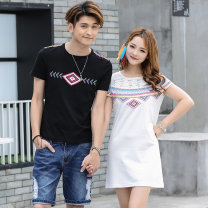 Dress Summer of 2019 Female s / 155 female M / 160 female L / 165 female XL / 170 male M / 170 male L / 175 male XL / 180 male XXL / 185 Mid length dress singleton  Short sleeve commute Crew neck middle-waisted other Socket other other Others 18-24 years old Type H Jiumei Fox Korean version other