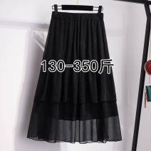 Women's large Spring 2021, summer 2021, autumn 2021 black 2XL,3XL,4XL,5XL,6XL,7XL skirt commute easy moderate Solid color Korean version 25-29 years old other