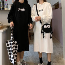 Sweater / sweater Autumn 2020 White earthy yellow black light green light gray M L Long sleeves have more cash than can be accounted for Socket singleton  Thin money Hood easy commute routine letter 18-24 years old 71% (inclusive) - 80% (inclusive) Xinglizi Korean version polyester fiber cl365