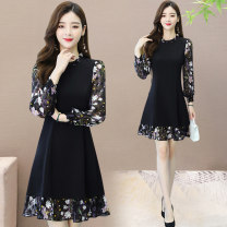 Women's large Spring 2021 black M L XL 2XL 3XL 4XL Dress singleton  commute Conjoined Korean version Crew neck Y5928 Chen Nian 35-39 years old Medium length Other 100% Pure e-commerce (online only) Ruffle Skirt