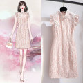 Dress Summer 2021 S M L XL Short skirt singleton  Short sleeve commute Slant collar High waist Solid color Socket A-line skirt other Others 25-29 years old Type A Oenothera Korean version Lace More than 95% polyester fiber Polyester 100% Pure e-commerce (online only)
