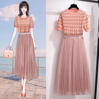 Fashion suit Summer 2021 S M L XL Pink top 60778 white pink top 60778 skirt 60783 pink orange suit skirt white pink suit skirt 18-25 years old Oenothera 60778-60783 Dress Set Polyester 100% Pure e-commerce (online only)