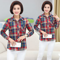 Middle aged and old women's wear Summer of 2018 Red and blue XL [recommended 90-105 kg], 2XL [recommended 105-120 kg], 3XL [recommended 120-135 kg], 4XL [recommended 135-150 kg] leisure time shirt easy singleton  lattice 40-49 years old Cardigan moderate square neck routine routine pocket pure cotton