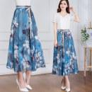 skirt Summer of 2018 2 feet 0 [68cm], 2 feet 1 [71cm], 2 feet 2 [74cm], 2 feet 3 [77cm], 2 feet 4 [81cm], 2 feet 5 [84cm], 2 feet 6 [87cm] Grey flower on blue background Mid length dress fresh Natural waist Pleated skirt Decor Type A 35-39 years old Xos69qz5552-9 printed long beach skirt Chiffon