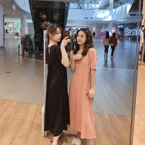 Dress Summer of 2019 Black orange pink watermelon red S M L XL 2XL Mid length dress singleton  Short sleeve commute 18-24 years old Ha Ding Ku Korean version 91% (inclusive) - 95% (inclusive) cotton Cotton 92% polyurethane elastic fiber (spandex) 8%
