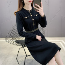 Dress Spring 2021 Black dark blue S M L XL Mid length dress singleton  Long sleeves commute Crew neck Elastic waist Solid color Socket Big swing routine Others 25-29 years old Type A Lian Liyun Korean version LLY0223ZP More than 95% other Other 100% Pure e-commerce (online only)