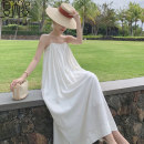 Dress Summer 2021 white S M L XL longuette singleton  Sleeveless commute One word collar Loose waist Solid color Socket A-line skirt camisole 25-29 years old Type A Charuiccy / Xia ruizi Korean version backless More than 95% other other Other 100% Pure e-commerce (online only)