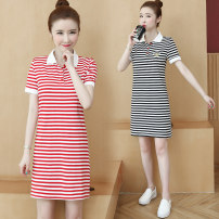 Dress Summer 2020 Red Stripe Black Stripe S M L XL XXL 3XL Mid length dress singleton  Short sleeve commute Polo collar middle-waisted A-line skirt routine 25-29 years old Type A Zimeiyan ZA25911 More than 95% other Other 100% Pure e-commerce (online only)