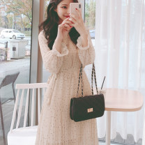 Dress Spring 2020 White, black S,M,L,XL Mid length dress singleton  Long sleeves commute Crew neck High waist Dot zipper A-line skirt other Others Type A Other / other Korean version Chiffon