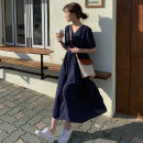 Dress Summer 2020 navy blue S,M,L,XL longuette singleton  Short sleeve commute V-neck Loose waist Dot zipper A-line skirt routine Others 18-24 years old Type A Korean version bow Cellulose acetate