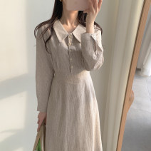Dress Autumn of 2019 Picture color S,M,L,XL Mid length dress singleton  Long sleeves commute Polo collar High waist lattice zipper A-line skirt other Others Type A Other / other Korean version 31% (inclusive) - 50% (inclusive) brocade