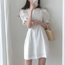 Dress Summer 2020 white S,M,L,XL Middle-skirt singleton  Short sleeve commute Crew neck High waist Solid color zipper A-line skirt routine Others Type A Korean version Bandage brocade