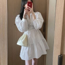 Dress Spring 2021 White, blue S,M,L,XL Middle-skirt singleton  Long sleeves commute Polo collar High waist Solid color Single breasted A-line skirt shirt sleeve Others 18-24 years old Type A Korean version Cellulose acetate