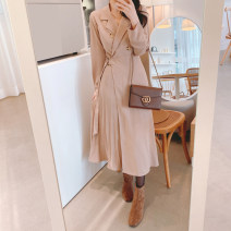 Dress Spring 2020 Black, light Khaki S,M,L,XL Mid length dress singleton  Long sleeves commute tailored collar High waist Solid color double-breasted A-line skirt routine Others Type A Korean version Silk and satin Cellulose acetate