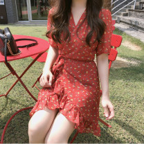 Dress Summer of 2019 gules S,M,L,XL Mid length dress singleton  Short sleeve commute V-neck High waist Decor zipper Ruffle Skirt routine Others 18-24 years old Type H Other / other Korean version Ruffles, lace up, print 31% (inclusive) - 50% (inclusive) Chiffon other