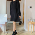 Dress Spring 2020 black S,M,L,XL Middle-skirt singleton  Long sleeves commute Crew neck Loose waist Solid color zipper A-line skirt routine Others Type A Other / other Korean version