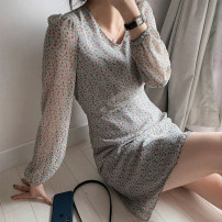 Dress Spring 2021 Gray, black S,M,L,XL Middle-skirt singleton  Long sleeves commute V-neck High waist Broken flowers zipper A-line skirt routine Others 18-24 years old Type A Korean version Chiffon polyester fiber