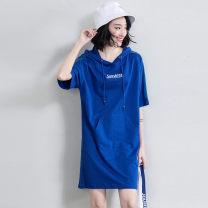 Sports dress Z9X6146CA female Free breath Blue, black, red M (adult), l (adult), XL (adult), 2XL Summer of 2019 Short sleeve Socket Hood cotton Sports & Leisure Sports life