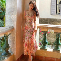 Dress Summer 2021 Rose skirt S M L XL longuette singleton  Sleeveless commute V-neck High waist Broken flowers zipper A-line skirt routine camisole 25-29 years old Infinity Retro printing More than 95% Chiffon other Other 100% Pure e-commerce (online only)