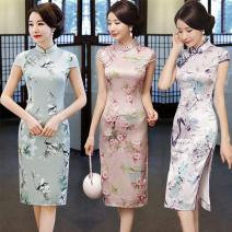 cheongsam Fall 2017 M L XL XXL XXXL S 4XL 5XL Sleeveless grace Low slit daily Oblique lapel Decor 25-35 years old Piping the wind is mild and the sun is bright Run Tian other Other 100% Pure e-commerce (online only)
